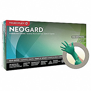 "9-1/2"" Powder Free Unlined Neoprene Disposable Gloves, Green, Size  S, 100PK"