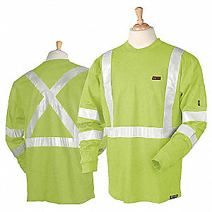 "Lime Flame-Resistant Crewneck Shirt, Size: 3X, Fits Chest Size: 53"" to 57"", 11.0 cal./cm2 ATPV Ratin"