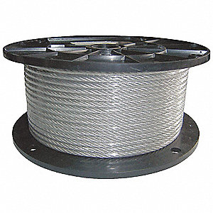 "Cable, 1/4"" Outside Dia., 302/304 Stainless Steel, 250 ft. Length, 7 x 19"