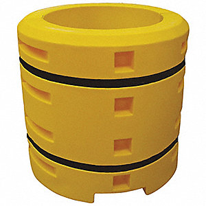 "Round Yellow Column Protector Fits Column Size 9"", 42""H x 24""W"