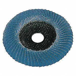 "5"" Flap Disc, Convex, 7/8"" Mounting Hole, Medium, 60 Grit Zirconia Alumina, 1 EA"