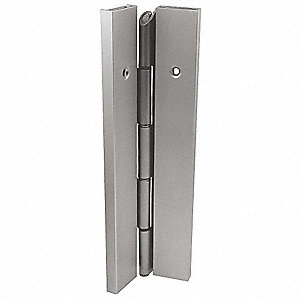 "90° Continuous Hinge With Holes, Gray Enamel, Door Leaf: 84"" x 1-11/16"" W"