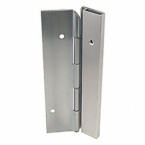 "180° Continuous Hinge With Holes, Satin Stainless Steel, Door Leaf: 84"" x 1-11/16"" W"