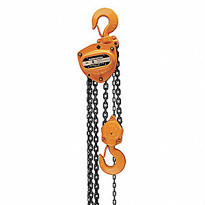 "Manual Chain Hoist, 2000 lb. Load Capacity, 8 ft. Hoist Lift, 1-7/64"" Hook Opening"