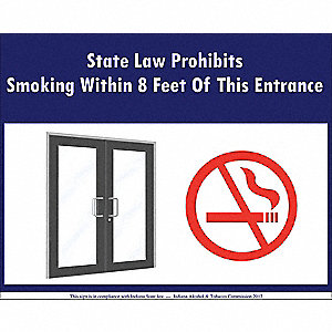 "No Smoking, Plastic, 5"" x 7"", Adhesive Surface"