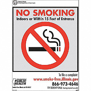 "No Smoking, Plastic, 10"" x 7"", Adhesive Surface"