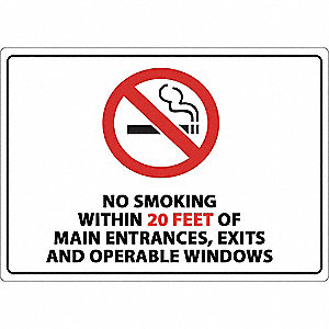 No Smoking Sign,Within 20ft.,14inW,Plstc
