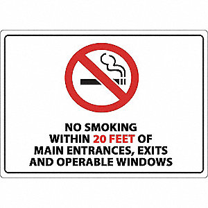 "No Smoking, Plastic, 10"" x 14"", Adhesive Surface"