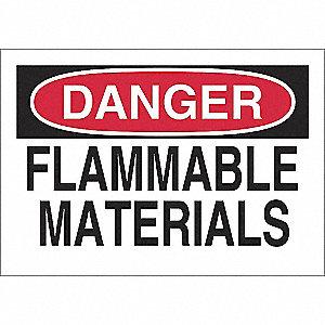 SIGN DANGER FLAM MATERIAL 7X10 SS