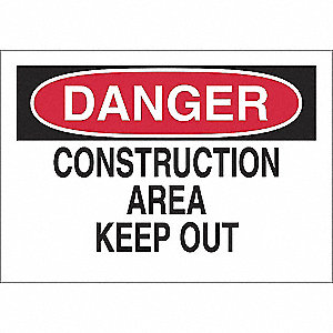 SIGN DANGER CONSTRUCTION 10X14 SS