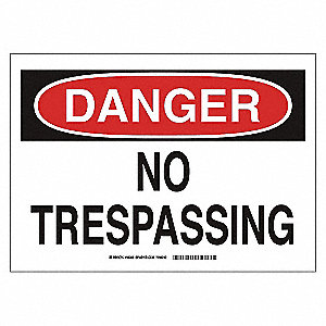 SIGN NO TRESPASSING 10X14 SS