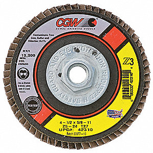 "4-1/2"" Flap Disc, Type 27, 5/8""-11 Mounting Hole, Medium, 80 Grit Zirconia Alumina, 1 EA"