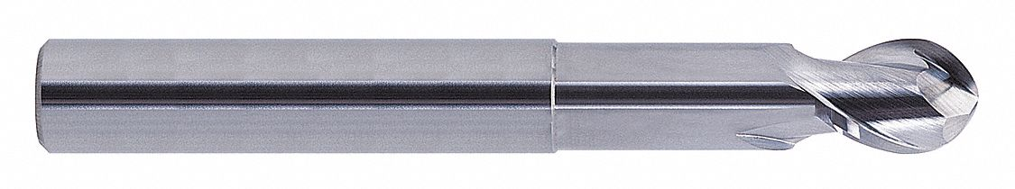 Ball End Mill,  1 in,  Carbide,  Bright (Uncoated),  Non-Coolant Through
