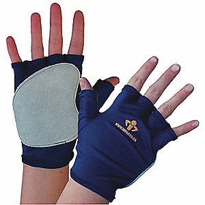 Impact Resistant Gloves, Leather, Nylon Palm Material, Blue, Gray, EA 1