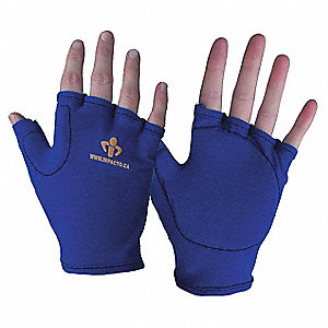 Impact Resistant Gloves, Leather, Nylon Palm Material, Blue, Yellow, 1 EA