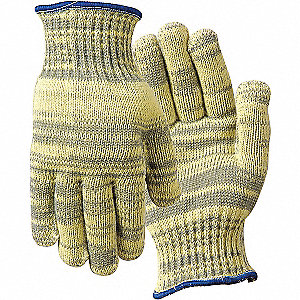 Cut Resistant Gloves, ANSI/ISEA Cut Level 4 Lining, Gray, Yellow, M, PR 1