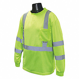 Hi-Visibility Green Polyester Long Sleeve Shirt, Size: 3XL, ANSI Class 3