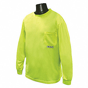 Hi-Visibility Green Polyester Long Sleeve T-Shirt, Size: 4XL, ANSI Class Unrated