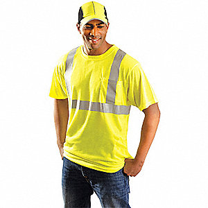 T-Shirt,4XL,Fit 60 in.,Yellow,Polyester