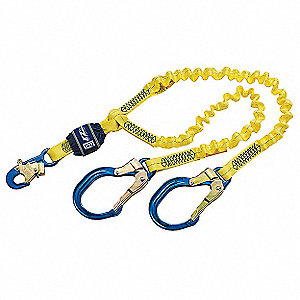 Stretchable Shock-Absorbing Lanyard, Number of Legs: 2, Working Length: 6 ft., Harness Hook Type: Sn