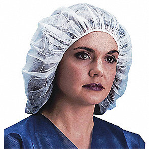 Bouffant Cap,19in,White,PP,PK1000