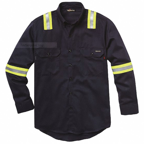 Workrite fr navy flame resistant collared shirt size m for 17 33 shirt size