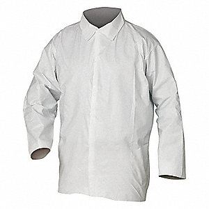 Disposable Shirt,  L,  SMS,  White,  Snaps Closure Type,  PK 50