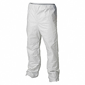 Disposable Pants, M, White, Microporous Material, PK 50