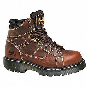 "6""H Men's Work Boots, Steel Toe Type, Leather Upper Material, Brown, Size 11EW"