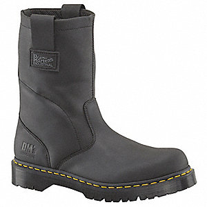 "10""H Men's Work Boots, Steel Toe Type, Leather Upper Material, Black, Size 8M"