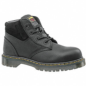"6""H Men's Work Boots, Steel Toe Type, Leather Upper Material, Black, Size 8M"