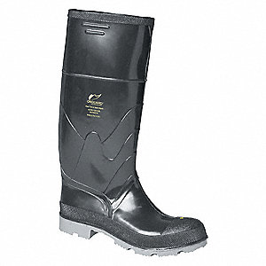 "16""H Men's Knee Boots, Steel Toe Type, Polyurethane and PVC Upper Material, Black, Size 8"