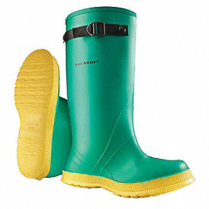 "17""H Men's Hazmat Overboots, Plain Toe Type, PVC/Polyester Upper Material, Green, Fits Shoe Size 11"