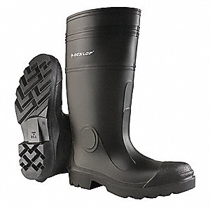 "16""H Men's Rubber Boots, Steel Toe Type, PVC Upper Material, Black, Size 4"