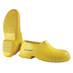 "4""H Men's Overshoes, Plain Toe Type, PVC Upper Material, Yellow, Fits Shoe Size 6 to 7"