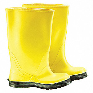 "17""H Men's Overboots, Plain Toe Type, PVC Upper Material, Yellow, Fits Shoe Size 7"