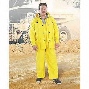 3-Piece Flame Resistant Rain Suit with Jacket/Bib Overall, ANSI Class: Unrated, L, Yellow