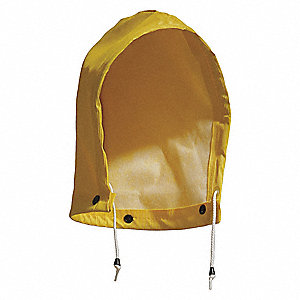 Rain Hood with Snaps, Yellow, Rainwear Primary Material: Polyester, Seam Style: Sealed