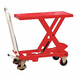 "32-1/2""L x 19-1/2""W Fixed Steel Scissor Lift Cart, 550 lb. Load Capacity"