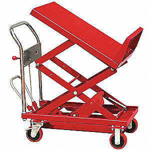 Mobile Manual Lift, Manual Push Scissor Lift Table, 400 lb. Load Capacity, Lifting Height Max. 31""