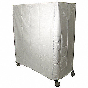 "White Antimicrobial Vinyl Zipper Cart Cover, 86""H x 48""L x 24""W"