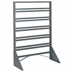 "1-Sided Bin Rail Floor Rack with 0 Bins, 53""H x 36""W x 15""D, Gray"