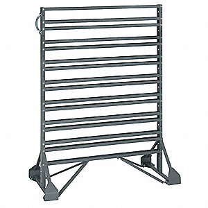 "2-Sided Bin Rail Floor Rack with 0 Bins, 53""H x 36""W x 20""D, Gray"