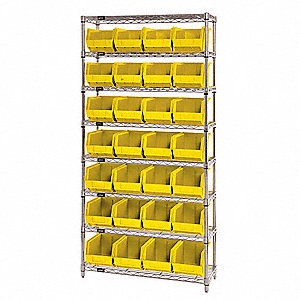 "36"" x 12"" x 74"" Bin Shelving with 5000 lb. Load Capacity, Yellow"