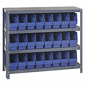 "36"" x 18"" x 39"" Bin Shelving with 5000 lb. Load Capacity, Gray Shelving Unit, Blue Bins"