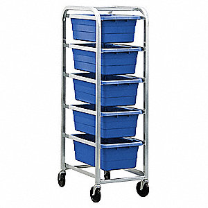 Cross Stack Tub Rack w/5 Tubs,Blue