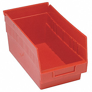 "Shelf Bin, Red, 8""H x 11-5/8""L x 6-5/8""W, 1EA"