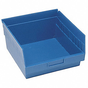 "Shelf Bin, Blue, 11-5/8"" Outside Length, 11-1/8"" Outside Width, 8"" Outside Height"