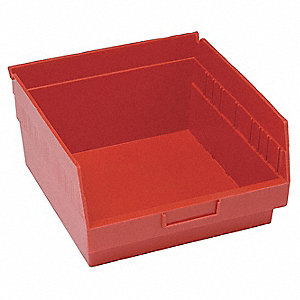 Shelf Bin,11-5/8 In. L,8 In. H,Red