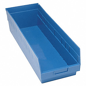 "Shelf Bin, Blue, 8""H x 23-5/8""L x 8-3/8""W, 1EA"